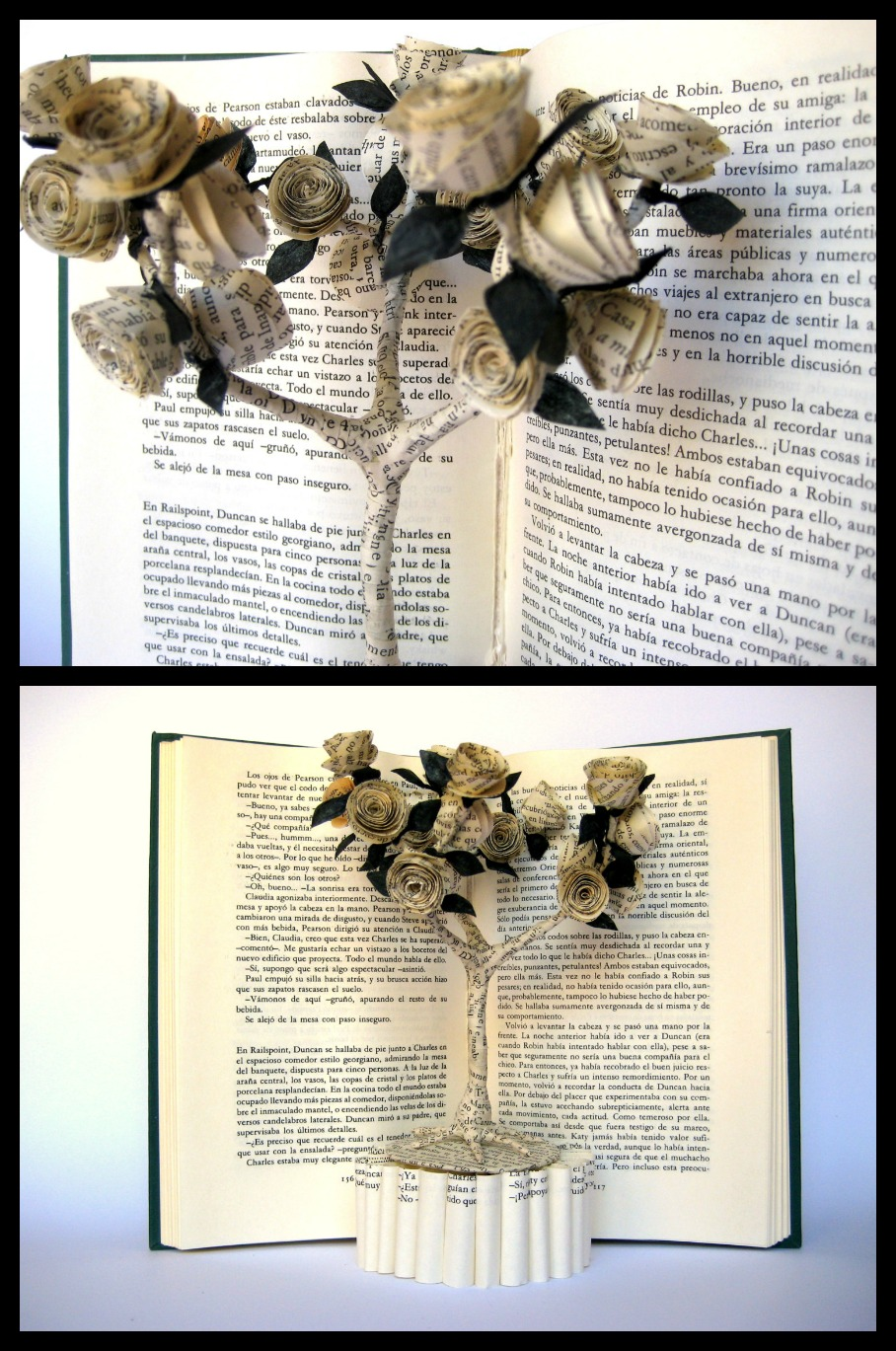 editura-contour-Rose-tree-book-art-sculpture-by-Malena-Valcárcel